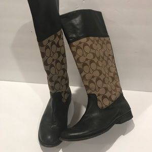 Coach Leather & canvas riding boots brown 7.5 VTG